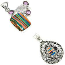 925 sterling silver rainbow calsilica pendant jewelry by jewelexi 1562B