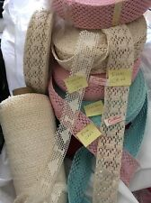 """5 yard 2- 2.5"""" Wide Lace Cotton Edging Crochet Lace Trim Ivory,Pink,Blue NEW"""