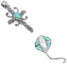 925 sterling silver larimar pendant jewelry by jewelexi 3342B
