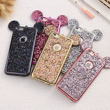 Bling Shining Glitter Minnie Mouse Ear Soft Case Cover for iPhone 8 8 Plus X 6S