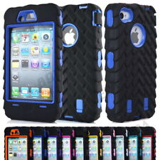 Hybrid Tire Stripe High Impact Soft Silicone Hard PC Combo Case Cover For iPhone