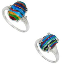 Jewelexi rainbow calsilica 925 sterling silver ring handmade jewelry 4350B
