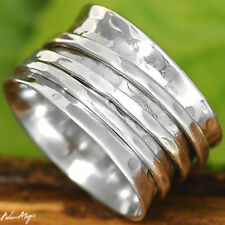 Solid 925 Sterling Silver Spinner Ring Hammered Spinning Wide Band New