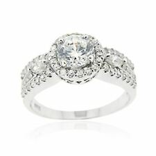 Sterling Silver CZ Bridal Engagement Ring