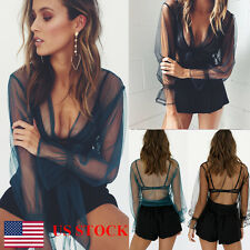 Women Ladies Flared Long Sleeve Lace Up See Through Perspective Blouses Crop Top