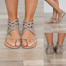 Women Ladies Hollow Out Zipper Strappy Gladiator Sandals Flip Flops Thong Shoes