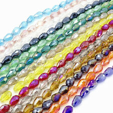 Wholesale 20pcs Faceted Teardrop Glass Crystal  Loose Spacer Beads DIY 8x12mm