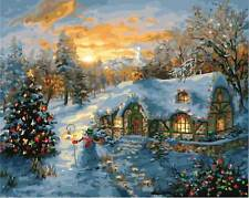 """Xmas Sunrise DIY Paint By Number 16x20"""" Acrylic Painting On Canvas W/N Frame2002"""