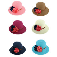Lady Traveling Straw Braided Flowers Decor Beach Sun Bucket Hat Sunhat