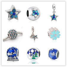 Blue 1pcs Silver CZ European Charm Beads Fit 925 Necklace Bracelet Pendant DIY