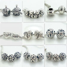 5pcs Silver Retro Spacer European Charm Beads Fit 925  Necklace Bracelet DIY