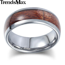 8mm Mens Boys Band Ring Silver Tone Tungsten Carbide Brown Wood Inlay US Sz 8-13