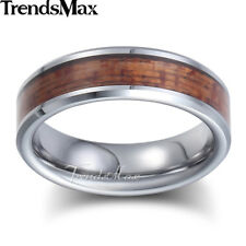 6mm Mens Boys Band Ring Silver Tone Tungsten Carbide Brown Wood Inlay US Sz 8-13