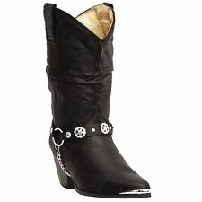 Dingo Olivia DI522 Womens Black Pigskin Slouch Western Boots