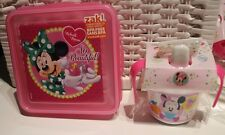 NEW DISNEY MINNIE MOUSE DRINK SIPPER CUP + MINNIE PLASTIC LUNCH SANDWICH BOX