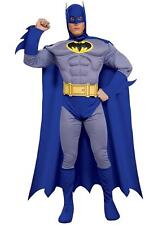 Mens Batman Muscle Chest Super Hero Fancy Dress Costume Grey and Blue