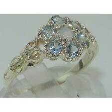 Victorian Ladies Solid Sterling Silver Natural Fiery Opal, Aquamarine Daisy Ring