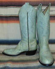 Vintage Cowtown Marbled Sky Blue Leather Cowboy Boots Mens 8 D Womens 9.5 M New