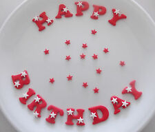 Edible Icing HAPPY BIRTHDAY Red Letters Star Polka Dots Flowers Cup Cake Toppers