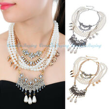 Fashion Chain Gothic White Pearl Acrylic Cluster Strands Choker Pendant Necklace