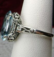 5ct *Aquamarine* Sterling Silver Edwardian/Deco Filigree Ring {Made To Order}