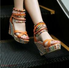Hot Sandals Ankle Strappy Platform Womens Cotton Blend Chunky Wedge Beaded Shoes