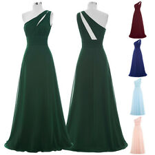 Elegant Long Wedding Bridesmaid DRESS One Shoulder Evening Party Prom Gowns