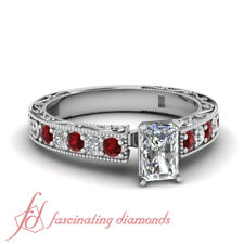 Red Ruby Vintage Milgrain Engagement Ring 0.85 Ct Radiant Cut Diamond SI1 GIA