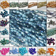 Wholesale 20Pcs 8x12mm Faceted Crystal Teardrop Charm Loose Spacer Beads U Pick