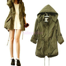 Womens Trench Hooded Coat Jacket Casual Warm Army Green Military Parka S M L XL