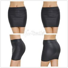 New Womens Plain Bodycon Pencil High Waisted Ladies Stretch Mini Skirt Ladies
