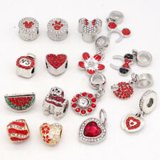 Red 1pcs Silver CZ European Charm Beads Fit 925 Necklace Bracelet Pendant DIY