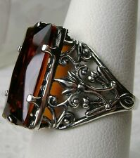 7ct *Orange Citrine* Sterling Silver Art Nouveau Filigree Ring Size Any/Custom