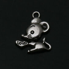 Mouse Tibetan Silver Charms Pendants Jewelry Finding Fit Necklace Alloy Pendant