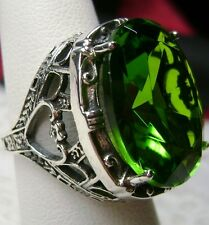 24ct Oval*Green Peridot* Sterling Silver Victorian Filigree Ring (Made To Order)