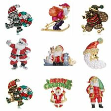 Santa Claus Crystal Brooch Pin Christmas Xmas Party Costumes Women Jewelry Gift