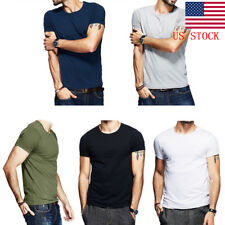Men Plain V/ Crew Neck Casual Cotton T-Shirt Male Slim Fitted Short Sleeve Tops