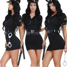 Ladies Police Cop Officer Costume Policewoman Cosplay Fancy Dress Uniform Outfit