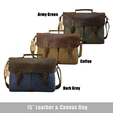 "Canvas Leather 15.6"" Laptop Briefcase CrossBody Shoulder Messenger Bag Satchel"