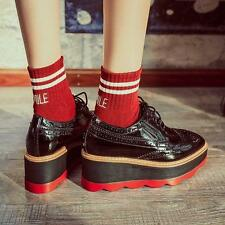 Womens Chic Oxford Platform New Lace Up Brogues Chunky Shoes Fashion Retro Shoes