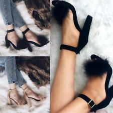 Women Ankle Strap Buckle Block Fluffy High Heel Shoes Ladies Peep Toe Sandals