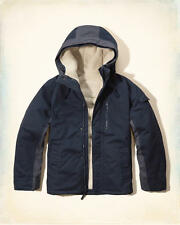 NWT Hollister by Abercrombie Mens 3 in 1 Cotton Twill Jacket Sherpa Fur Lined M