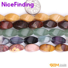 8x16mm Natural Gemstone Olivary Twist Stone Beads For Jewelry Making Strand 15""
