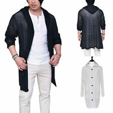 Men Casual Thin Overcoat Outwear Long Sleeve Button Slim Hoodies Coats Jackets