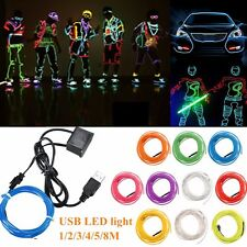 1/2/3/4/5/8M USB Flexible EL Neon LED Strip Glow Rope Tube Light Xmas Wire Decor