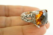 Ornate Yellow Citrine Solitaire 925 Sterling Silver Ring Size 6.25, 7, 8, 9