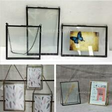 Antique Brass Glass Picture Frame Photo Holder Hanging Freestanding Portrait