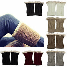 Lace Trim Leg Warmers Fashion Womens Crochet Knit Cuffs Toppers Boot Socks