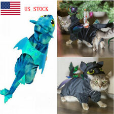 Halloween Pet Dog Cat Costumes Dragon Outfit On Back Cosplay Clothes US STOCK