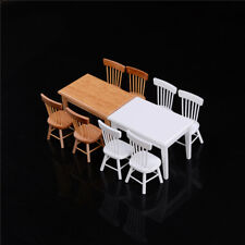 1:12 Wooden Kitchen Dining Table With 4 Chairs Set Barbie Dollhouse Furniture BB